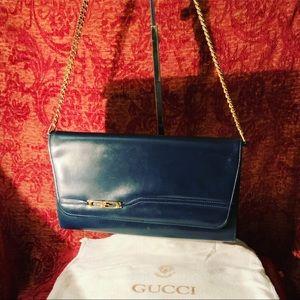 Vintage navy leather Gucci clutch/shoulder bag🦉🦉